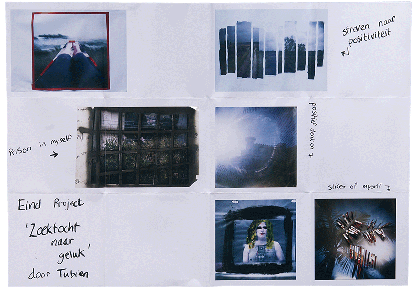 Flyer of the photograpic installation/mixed media called 'searching for happiness' by Tubien, artist with camera.